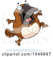 Royalty Free RF Clip Art Illustration Of A Platypus Jumping by Cory Thoman