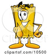 Yellow Admission Ticket Mascot Cartoon Character Pointing At The Viewer