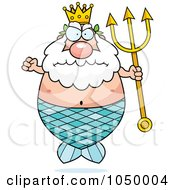Royalty Free RF Clip Art Illustration Of A Mad Plump King Neptune Merman by Cory Thoman