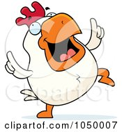 Royalty Free RF Clip Art Illustration Of A White Rooster Dancing