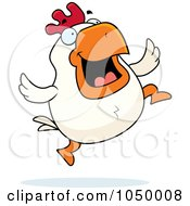 Royalty Free RF Clip Art Illustration Of A White Rooster Jumping