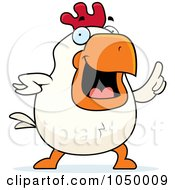 Royalty Free RF Clip Art Illustration Of A White Rooster With An Idea
