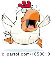 Royalty Free RF Clip Art Illustration Of A White Rooster Panicking