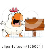Royalty Free RF Clip Art Illustration Of A White Rooster With A Blank Sign