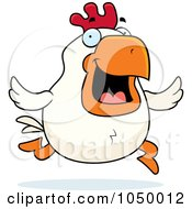 Royalty Free RF Clip Art Illustration Of A White Rooster Running