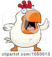 Royalty Free RF Clip Art Illustration Of A White Rooster Waving