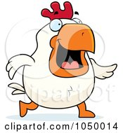 Royalty Free RF Clip Art Illustration Of A White Rooster Walking