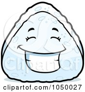 Royalty Free RF Clip Art Illustration Of A Happy Rice Ball Grinning