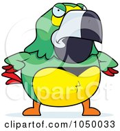 Royalty Free RF Clip Art Illustration Of A Mad Green Parrot by Cory Thoman