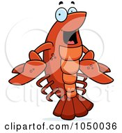 Royalty Free RF Clip Art Illustration Of A Happy Crawfish by Cory Thoman