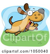 Royalty Free RF Clip Art Illustration Of A Dog Running With A Leash In His Mouth