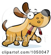 Royalty Free RF Clip Art Illustration Of A Dog Walking With A Leash In His Mouth