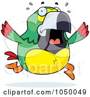 Royalty Free RF Clip Art Illustration Of A Green Parrot Panicking by Cory Thoman