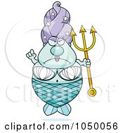 Royalty Free RF Clip Art Illustration Of A Plump Mermaid With A Trident