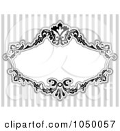 Royalty Free RF Clip Art Illustration Of A Black And White Floral Victorian Frame Over Gray Stripes 5 by BNP Design Studio