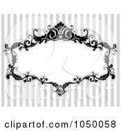Royalty Free RF Clip Art Illustration Of A Black And White Floral Victorian Frame Over Gray Stripes 1 by BNP Design Studio #COLLC1050058-0148