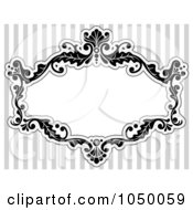 Royalty Free RF Clip Art Illustration Of A Black And White Floral Victorian Frame Over Gray Stripes 2