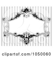 Royalty Free RF Clip Art Illustration Of A Black And White Floral Victorian Frame Over Gray Stripes 3