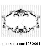 Royalty Free RF Clip Art Illustration Of A Black And White Floral Victorian Frame Over Gray Stripes 4