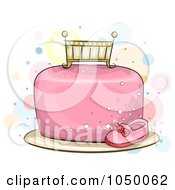 Royalty Free RF Clip Art Illustration Of A Crib Topper On A Pink Baby Girl Cake