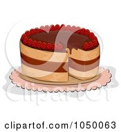 Royalty Free RF Clip Art Illustration Of A Chocolate Strawberry Cake With A Missing Slice