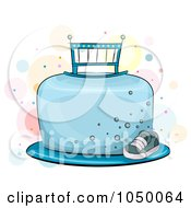 Royalty Free RF Clip Art Illustration Of A Crib Topper On A Blue Baby Boy Cake