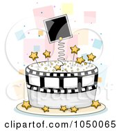 Royalty Free RF Clip Art Illustration Of A Photo Film And Star Cake