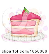 Royalty Free RF Clip Art Illustration Of A Slice Of Strawberry Cake