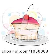 Royalty Free RF Clip Art Illustration Of A Slice Of Cherry Cake
