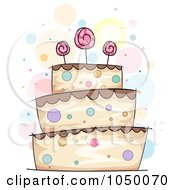 Royalty Free RF Clip Art Illustration Of A Sketched Polka Dot And Lolipop Cake by BNP Design Studio