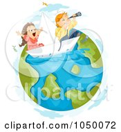 Royalty Free RF Clip Art Illustration Of Kids Sailing On Earth