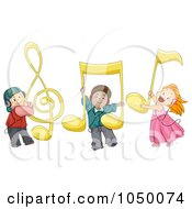 Royalty Free RF Clip Art Illustration Of Diverse Kids With Large Music Notes