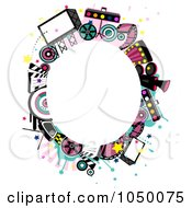 Royalty Free RF Clip Art Illustration Of An Oval Frame Of Entertainment Items Around Copyspace