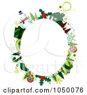 Royalty Free RF Clip Art Illustration Of An Oval Frame Of Christmas Items Around Copyspace by BNP Design Studio