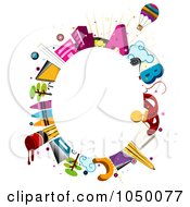 Royalty Free RF Clip Art Illustration Of An Oval Frame Of Educational Items Around Copyspace