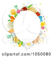 Royalty Free RF Clip Art Illustration Of An Oval Frame Of Food Items Around Copyspace by BNP Design Studio