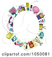Royalty Free RF Clip Art Illustration Of An Oval Frame Of Communication Items Around Copyspace