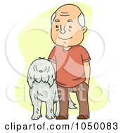 Royalty Free RF Clip Art Illustration Of A Senior Man Standing With His Dog