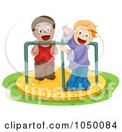 Royalty Free RF Clip Art Illustration Of Boys Playing On A Roundabout by BNP Design Studio