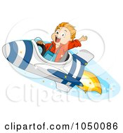 Royalty Free RF Clip Art Illustration Of A Boy Riding A Rocket by BNP Design Studio