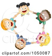 Royalty Free RF Clip Art Illustration Of Diverse Kids Holding Hands And Looking Up by BNP Design Studio