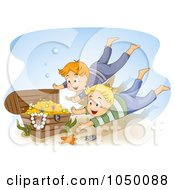 Royalty Free RF Clip Art Illustration Of Boys Diving For Sunken Treasure