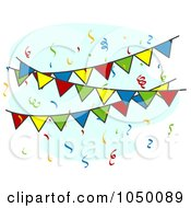 Royalty Free RF Clip Art Illustration Of Colorful Fiesta Pennant Banners And Confetti by BNP Design Studio