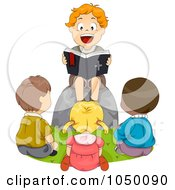 Royalty Free RF Clip Art Illustration Of A Boy Reading A Bible To Friends