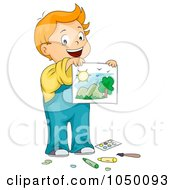 Royalty Free RF Clip Art Illustration Of A Proud Boy Holding A Painting