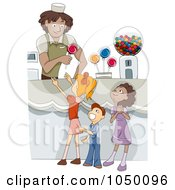 Royalty Free RF Clip Art Illustration Of Diverse Kids In A Candy Shop by BNP Design Studio
