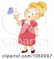Royalty Free RF Clip Art Illustration Of A Girl Playing With A Butterfly