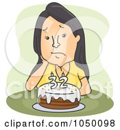 Royalty Free RF Clip Art Illustration Of A Sad 32 Year Old Woman Sitting By Her Birthday Cake