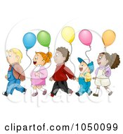 Royalty Free RF Clip Art Illustration Of Diverse Kids Walking In Line With Balloons