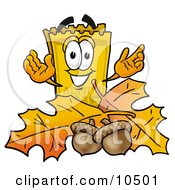 Yellow Admission Ticket Mascot Cartoon Character With Autumn Leaves And Acorns In The Fall